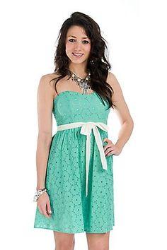 Pastel Green Eyelet Sweetheart Neckline Strapless Dress