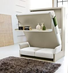This free-standing Murphy Bed unit provides seating, room division, and last but not least, an extra bed! The seat of the sofa lifts up to reveal storage for cushions and bedding, while the bed swings down on a hinge without displacing items on display.