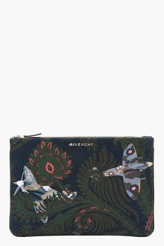 GIVENCHY Blue Paisley and Plane laptop Pouch