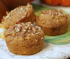 Pumpkin Paleo Muffins- 1 ½ cups almond flour, 1/2 tablespoon coconut flour, 1 teaspoon baking powder, 1 teaspoon baking soda, 1 ½ teaspoons pumpkin pie spice, plus more for sprinkling on tops of muffins, 1/8 teaspoon salt, 3 eggs, 3 tablespoons maple syrup, ¾ cup canned pumpkin, 1 small ripe banana, mashed, 1 teaspoon vanilla extract, 1/3 cup chopped pecans (plus more to sprinkle on top)