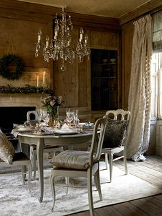 dining rooms, tea time, interior, dine room, decorating blogs, chandeliers, dining tables, country, curtain