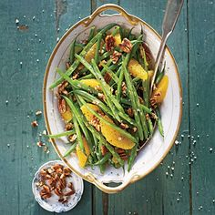 Green Beans with Citrus and Pecans | A citrus vinaigrette adds fresh zing to crisp-tender green beans.