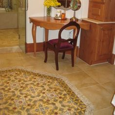 Avente Tile Project: Cement tile #rug adds glamour to master bath