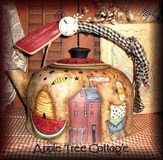 hand painted tea kettle