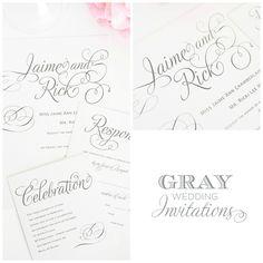 Calligraphic Gray Wedding Invites
