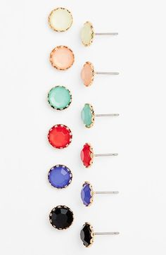 So many colors to choose from. Love this 6 pack of stone stud earrings.