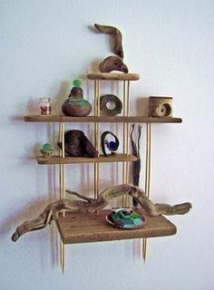 Driftwood Shelves: ~ craft project tutorial submitted by David from Huanchaco, Peru.    David made these shelves and hung them. Read more: http://www.odysseyseaglass.com/shelves-of-driftwood-with-sea-glass-and-beach-finds.html