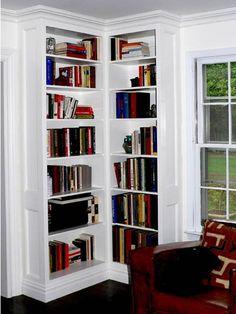 built in corner bookshelf - *bedroom