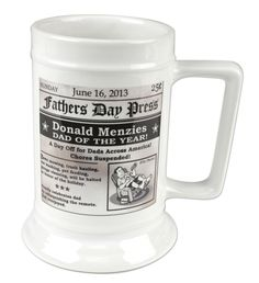 Personalized Fathers Day Headline Ceramic Beer Steins