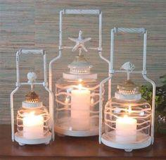 Frosted Globe Shell Coastal Decor Lantern Set :: Coastal Decor Candles, Holders & Lanterns :: Beach Decor Accent :: By The Sea Decor - Beach Decor