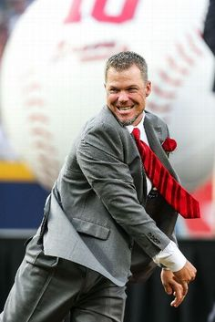 Chipper Jones #10 of the Atlanta Braves throws out the ceremonial first pitch during his number retirement ceremony before the game against the Arizona Diamondbacks at Turner Field on June 28, 2013 in Atlanta, Georgia. (Photo by Daniel Shirey/Getty Images)