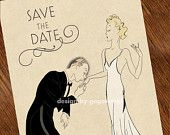 Art Deco Save the Date Cards Wedding Invitations