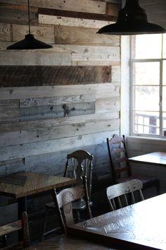 decor, cafe interior, plank walls, reclaimed wood restaurant, reclaimed wood wall, bonus room, hous, diy idea, wood walls