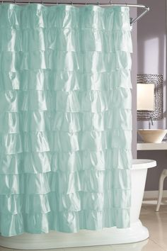 It looks like waves in the ocean ... Steve Madden Ruffles Shower Curtain $24.99 showers, bathroom colors, ruffl shower, bathrooms decor, bathroom idea, steve madden, white bathrooms, shower curtains, ruffles