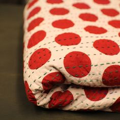 Indian Kantha quilt -red spots by Bleecker Street Vintage