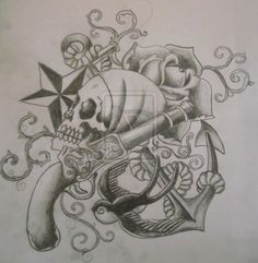 Pirate Tattoo Sketch By Cut Throat Jake On Deviantart Design 883x904 Pixel anchor skull star rose pistol sparrow old school tattoo flash art ~A.R.