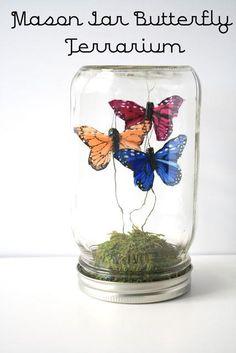 DIY Mason Jar Butterfly Terrarium « cute idea, but get creative! Little creepy plants or... Anything really!