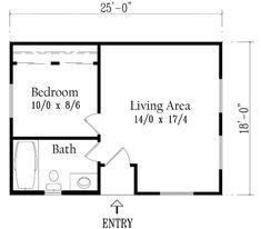 "Houseplans.com Plan #1-157  ""Adobe"" Tiny House 437sq ft."
