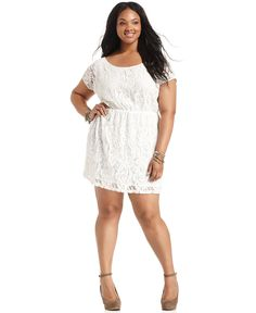Soprano Plus Size Dress, Short-Sleeve Lace - Plus Size Dresses - Plus Sizes - Macy's