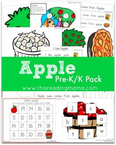 FREE Apple Pre-K/K Pack: a 50+ page pack with TWO emergent readers, rhyming, syllable counting, fine motor activities and MORE! |This Reading Mama