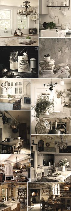 Decor ideas for a French styled kitchen. Just beautiful! I MUST have a chandi in the kitchen. :)