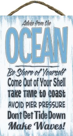 Advice From The Ocean Slat Board Sign