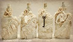 romantic bottles with vintage lace - katies rose cottage