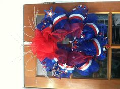 4th of July deco mesh ribbon wreath.