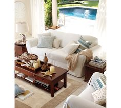 Coastal Living room with Oversized Sand Dollar