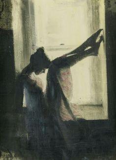 Beauty silhouett, window, leah macdonald, shadow, encaustic painting, jonathan coe, artist, paintings, ancient art