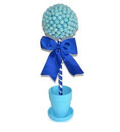 #aisle #decoration #decor #candy #lollipop #topiary #largecenterpiece #weddings #birthday #babyshower #itsaboy #etsy #edibleweddings #customizable Large Lollipop Candy Topiary Blue by EdibleWeddings on Etsy, $44.99