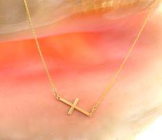14k Gold filled Sideways Cross necklace/ Side Cross by MayaBelle, $43.00