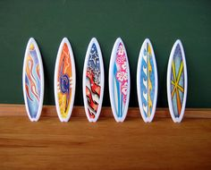 Surfboard Cupcake Topper - 12 Plastic Surf Board Cupcake Toppers for Parties