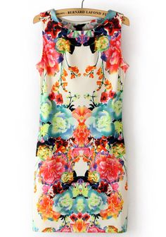 Multi Sleeveless Floral Bodycon Dress// Colourful//