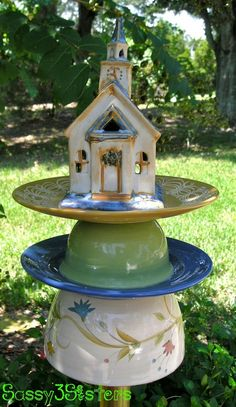 glass yard art images | Glass Art and Yard art / Garden Yard Art, Garden Stake, Vintage Garden ...