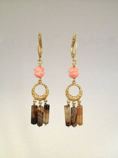 Drop Earring with Bamboo Coral & Agate Stones by Hibiscus03, $35.00