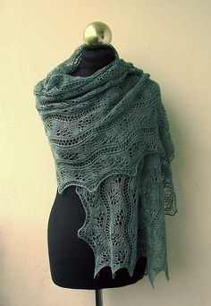 Mystic Forest hand knitted lace stole