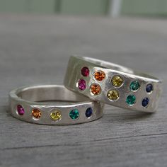 Set of Two Rainbow Rings - Commitment or Wedding Band Set - Ruby, Sapphire, Emerald, and Recycled Palladium Sterling Silver, Made to Order