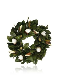 Magnolia Leaf & Bud Wreath 24″  WANT AND NEED