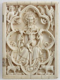 Gothic ivory carving of the Christian Holy Trinity, depicted as a throne of grace/mercy seat, with the symbols of the four Evangelists in the corner. (Art Gallery of Ontario/gothicivories.courtauld.ac.uk)