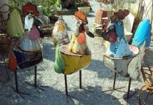 giant metal roosters!