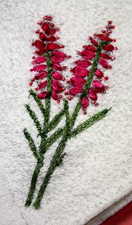 Embroidering onto a stamped image with ribbon - http://candronicoucardcraft.blogspot.com/2013/01/its-gift.html