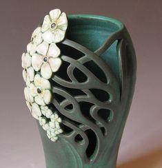 Love the texture sculpture clay, clay vases, pottery colors, nouveau vase, pottery art, art nouveau ceramics, art nouveau pottery, pottery ceramics, carved pottery