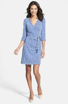 Laundry by Shelli Segal Print Jersey Faux Wrap Dress (Regular