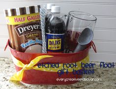 Etched Root Beer Mug {Gift Idea!} created with Martha Stewart crafts gift baskets, rootbeer float, buckets, father day, gift ideas, creativ endeavor, root beer float basket, the craft, craft gifts