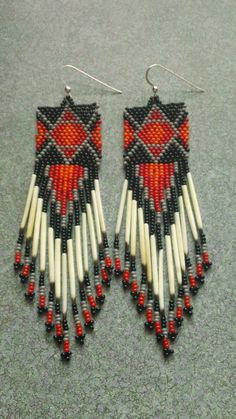 Beaded Quill Earrings on Etsy