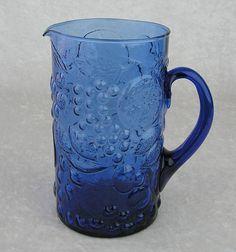 Cobalt Blue Glass Fruit Embossed Pitcher