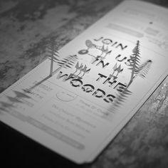die-cut invitations by Wood & Grain