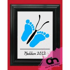 DIY Butterfly Infant Foot print Printable grandparent gift via Etsy