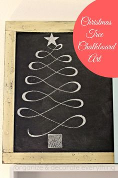 Christmas Tree Chalk Board Art - I just did this on my chalkboard. Love it!